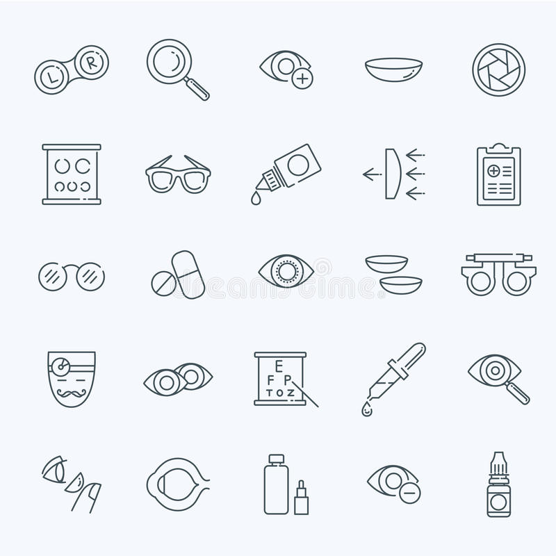 Oculist optometry vision correction eyes health line icons set. Oculist optometry vision correction eyes health outline icons set isolated vector illustration royalty free illustration