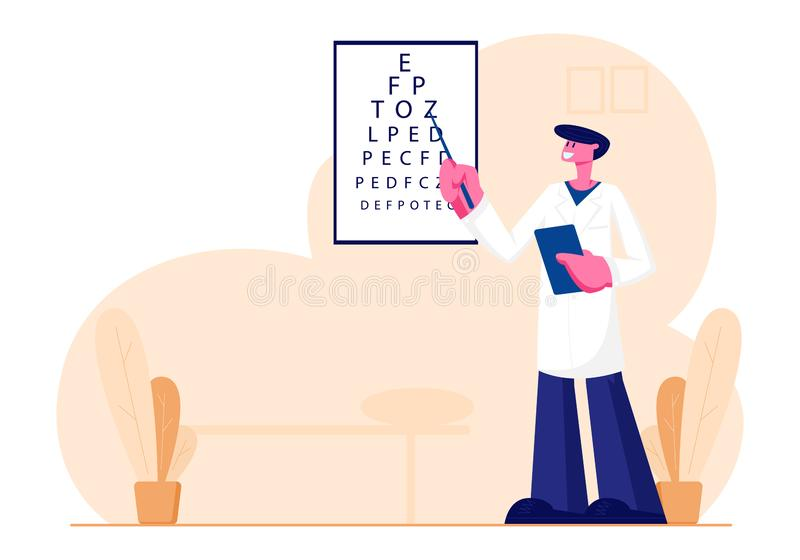 Oculist Stand at Vision Test Chart with Pointer for Patient Checkup Eye Sight. Doctor Checking Eyesight for Eyeglasses Diopter. Professional Optician Exam stock illustration