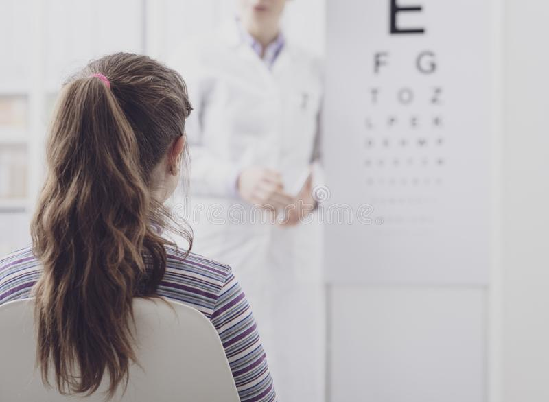 Oculist testing a young patient`s eyesight using an eye chart. Ophthalmology and eyesight concept royalty free stock photo