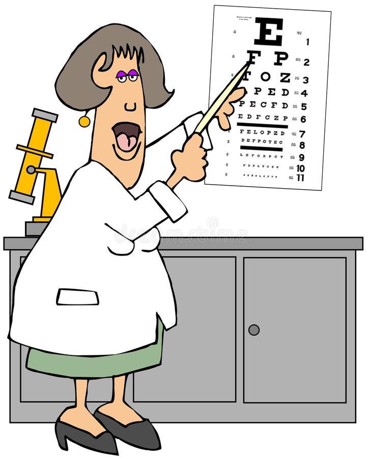 Oculista de sexo femenino que señala a una carta de ojo ilustración del vector