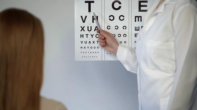Oculista que comprueba la vista del paciente femenino que muestra las letras, oftalmólogo fotos de archivo