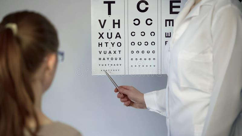 Oculista que señala en la tabla con las pequeñas letras, comprobando vista de los pacientes imagen de archivo