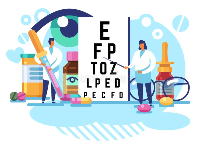 Oculists concept. Eye care and sight diagnostic testing. Ophthalmology laboratory equipment, vision check up vector. Examination ophthalmological treatment vector illustration