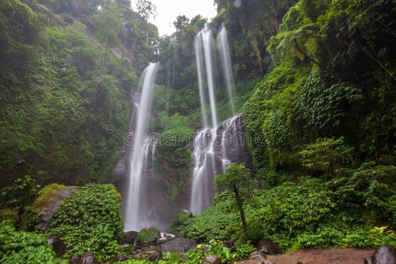 Ocultado en la cascada hermosa de Sekumpul de las selvas en Bali, Indonesi imagenes de archivo