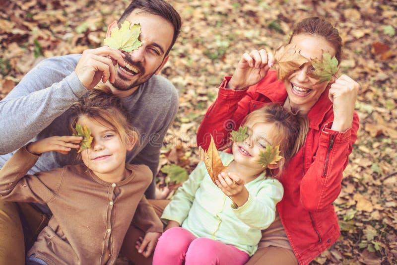 Oculte con las hojas de la caída y consiga las actitudes a la cámara Tiempo de la familia imagen de archivo libre de regalías