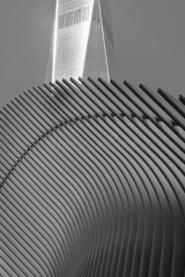 The oculus and skyscraper - Manhattan, New York stock image
