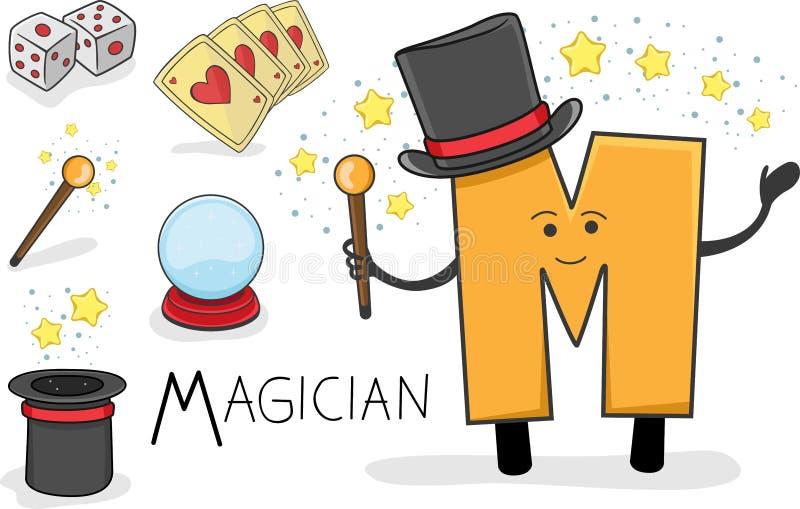 Ocupação de Alphabeth - letra M - mágico ilustração royalty free