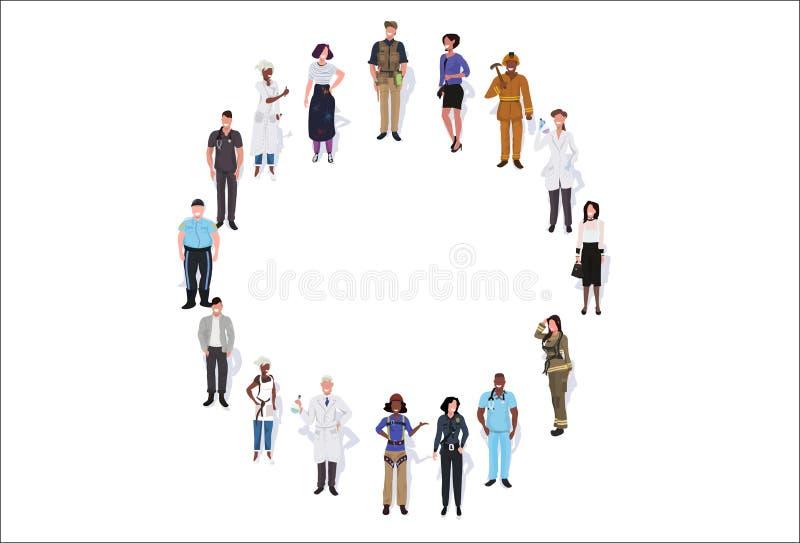 Ocupação diferente do grupo dos povos da raça da mistura que está junto do comprimento completo masculino dos trabalhadores fêmea ilustração stock