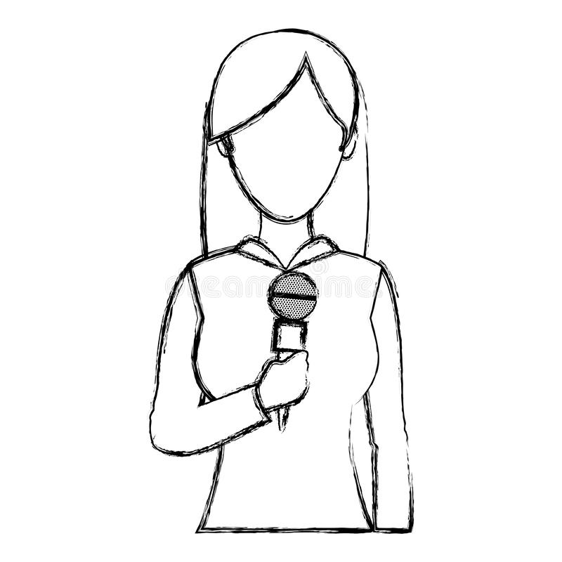 Ocupa??o do rep?rter da mulher profissional do Grunge com microfone ilustração do vetor