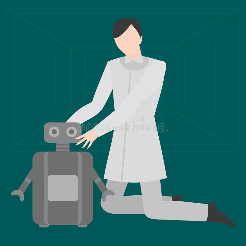 Ocupação home lisa do coordenador do robô Desenhista futuro, profissão futurista do mecânico Especialista da robótica e dele tecn ilustração stock