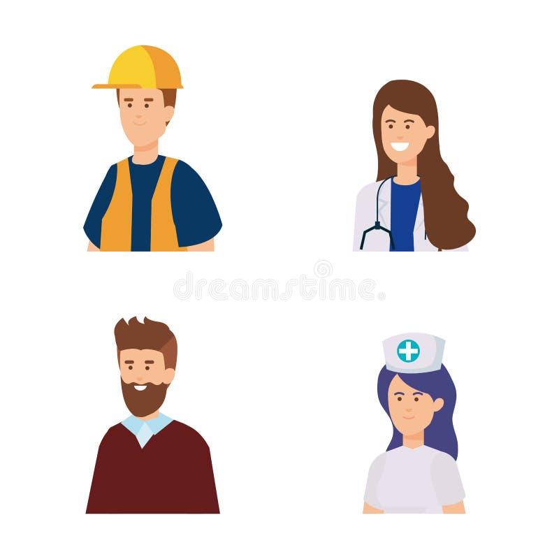 Ocupação profissional ajustada e empregadores tradicionais ilustração stock