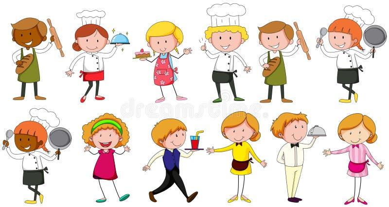 Ocupações diferentes que trabalham no restaurante ilustração stock