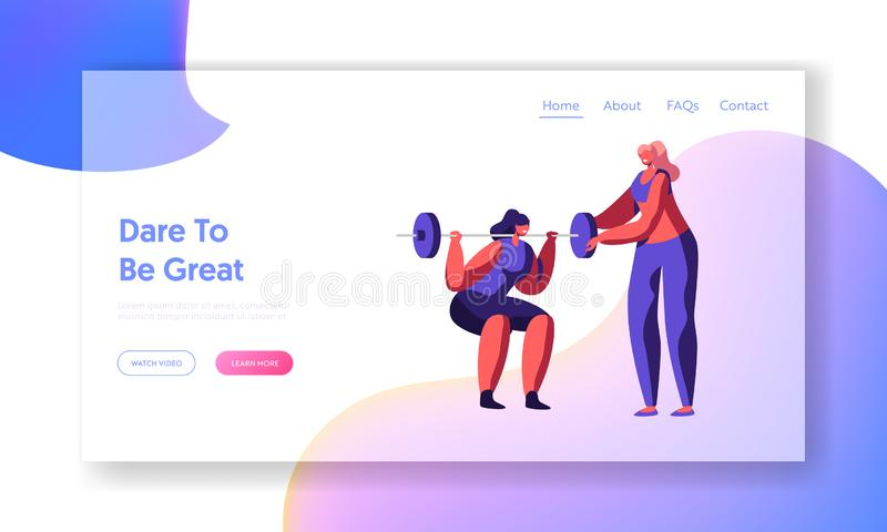 Ocupación de la mujer con el peso en el gimnasio, coche Help en el entrenamiento La muchacha en deportes lleva el entrenamiento,  ilustración del vector