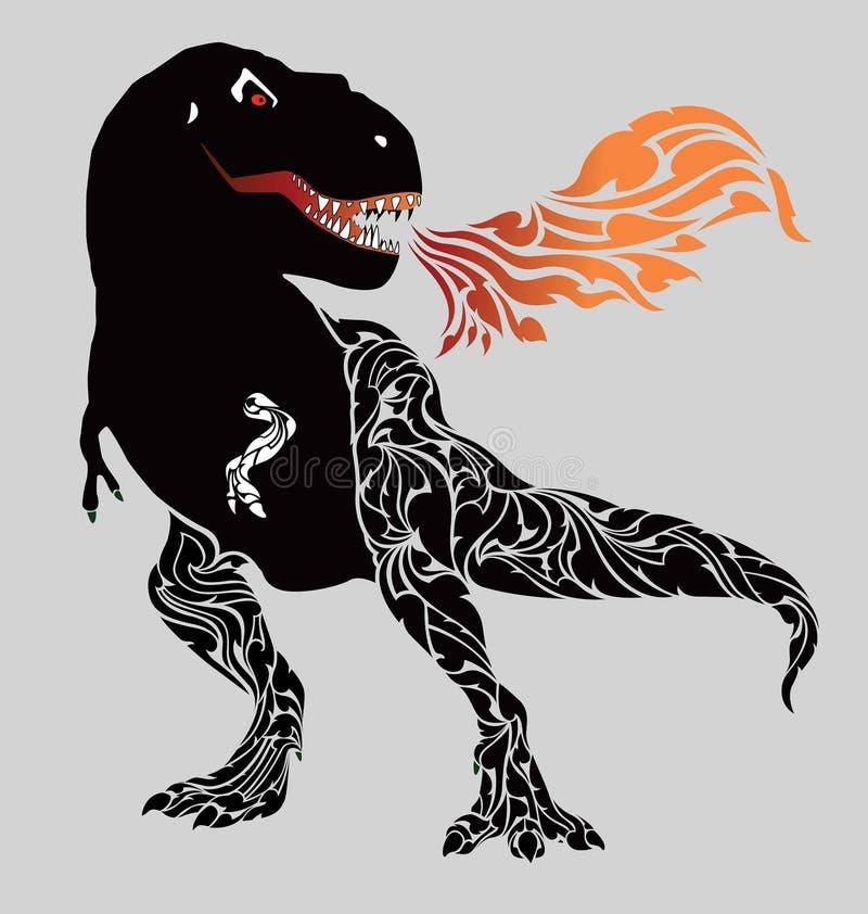 Ocupando un dinosaurio feroz fiel libre illustration