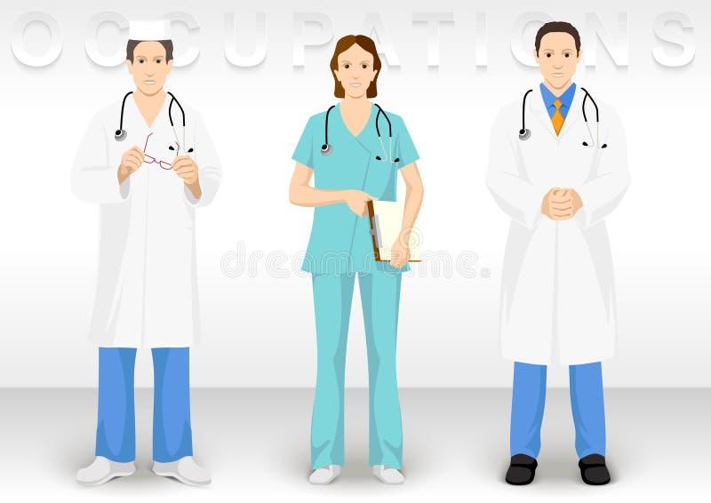 Ocupation médico Los iconos del carácter de la gente muestran a vestido el médico castrense stock de ilustración