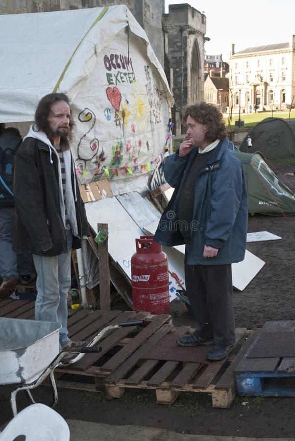 Ocupe activistas de Exeter antes de sua ação direta imagens de stock royalty free