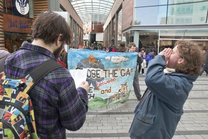 Ocupe a campanha dos activistas de Exeter em Exeter fotografia de stock royalty free