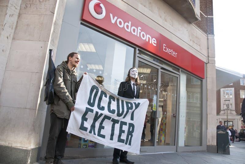 Ocupe a campanha Vodaphone dos activistas de Exeter imagem de stock royalty free