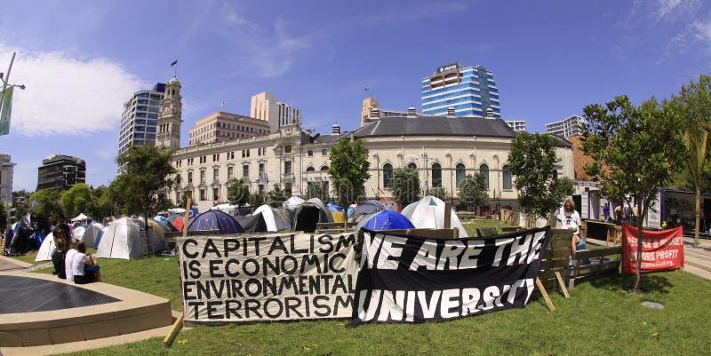 Ocupe la demostración Auckland de Wall Street fotografía de archivo