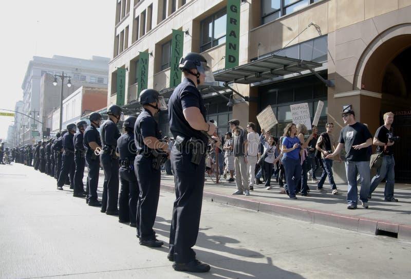 Ocupe la marcha de los manifestantes del LA imagen de archivo