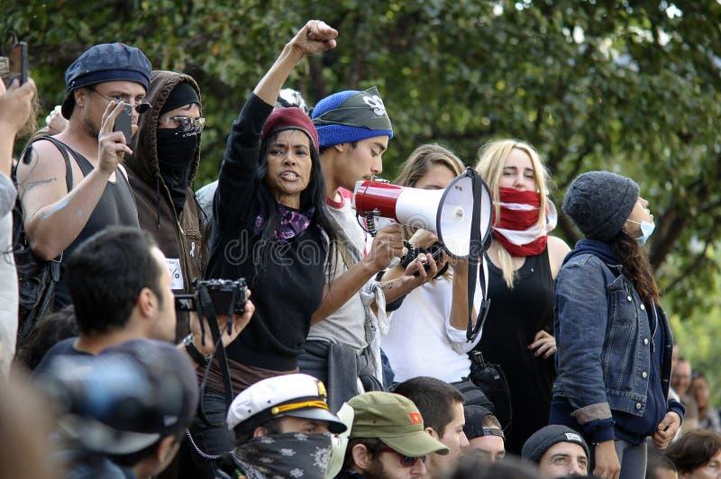 Ocupe la marcha de los manifestantes del LA foto de archivo