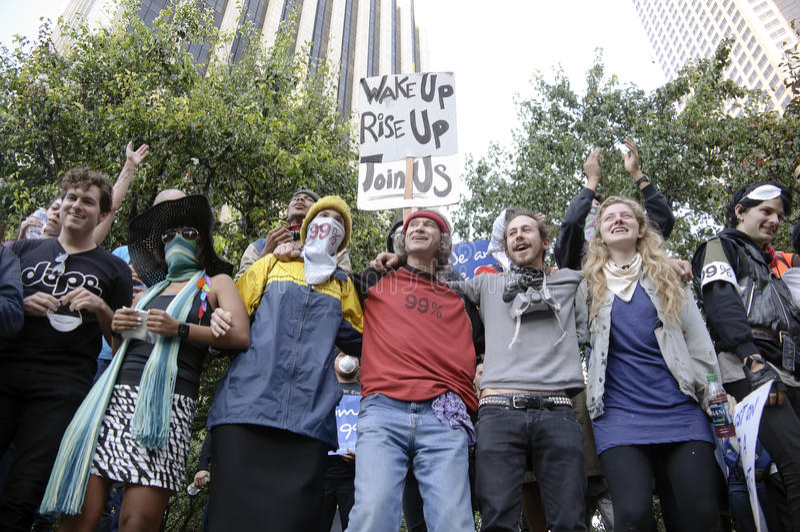 Ocupe la marcha de los manifestantes del LA foto de archivo libre de regalías