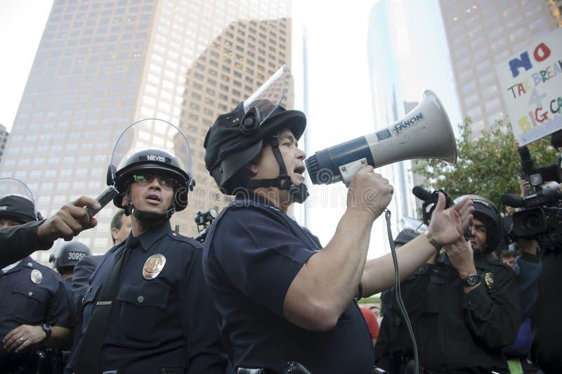 Ocupe la marcha de los manifestantes del LA fotos de archivo