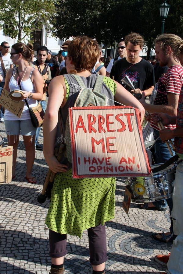 Ocupe Lisboa - protestos globais da massa 15 outubro foto de stock