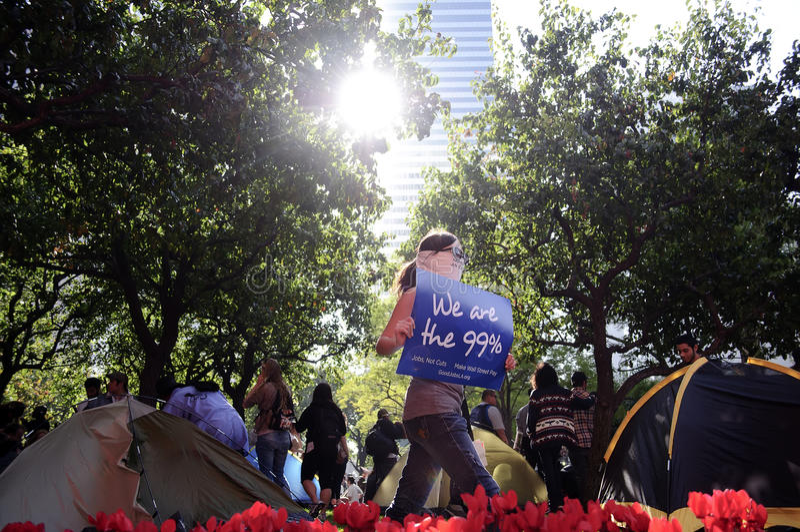 Ocupe o março dos protestadores do LA fotos de stock royalty free