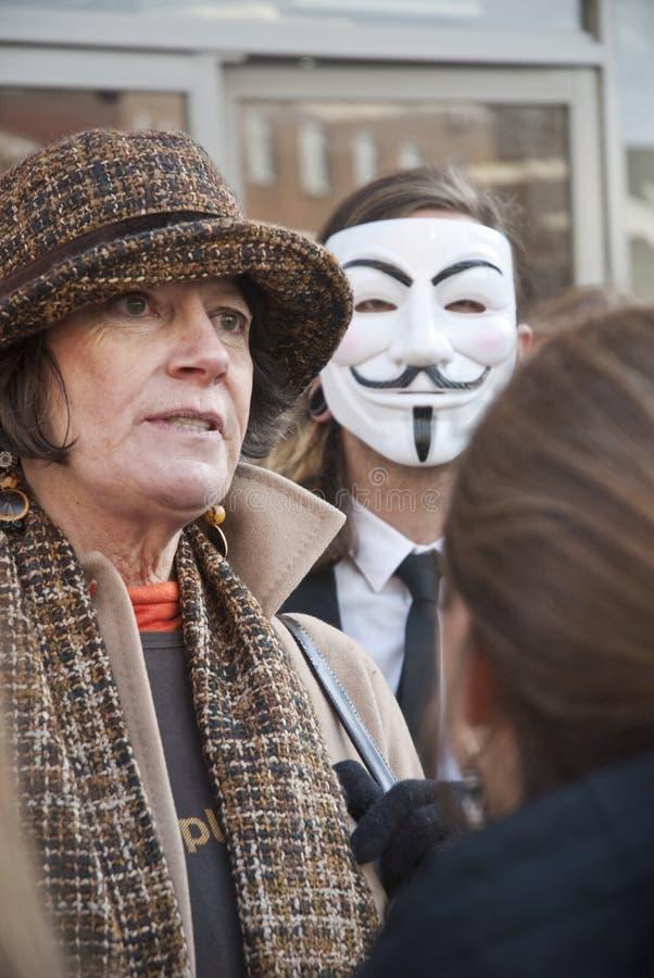Ocupe o recolhimento dos activistas de Exeter fora de Exeter Voda fotografia de stock