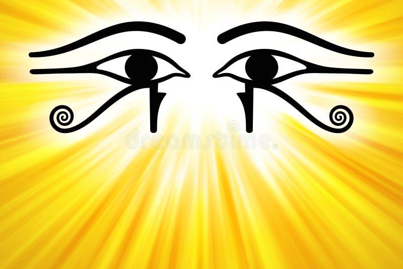 Oczy Horus z złotymi sunbeams royalty ilustracja