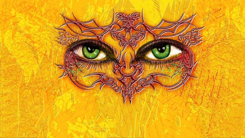 Oczy mnie - zieleni oczy z plemiennymi tatuażami otacza na żółtym textured tle royalty ilustracja