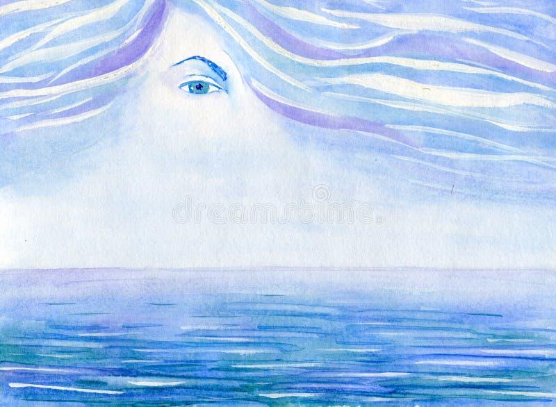 Oczy nad morzem ilustracji