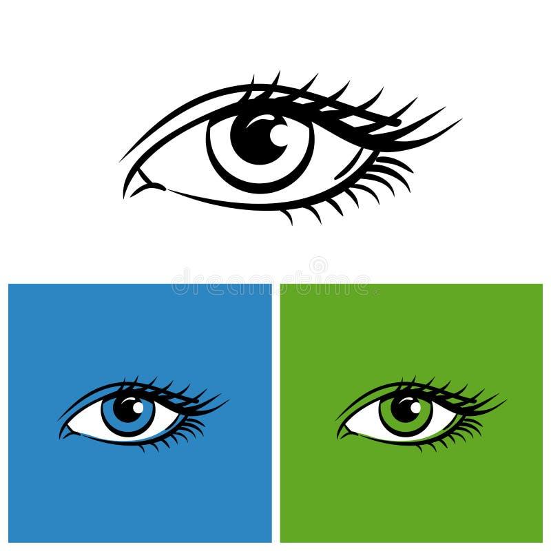 Oczy odizolowywający na bielu, jaskrawy - zielony i błękitny tło ilustracja wektor