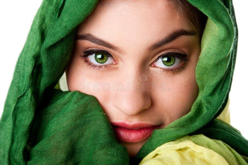 oczy stawiają czoło zielonego szalika zdjęcia royalty free