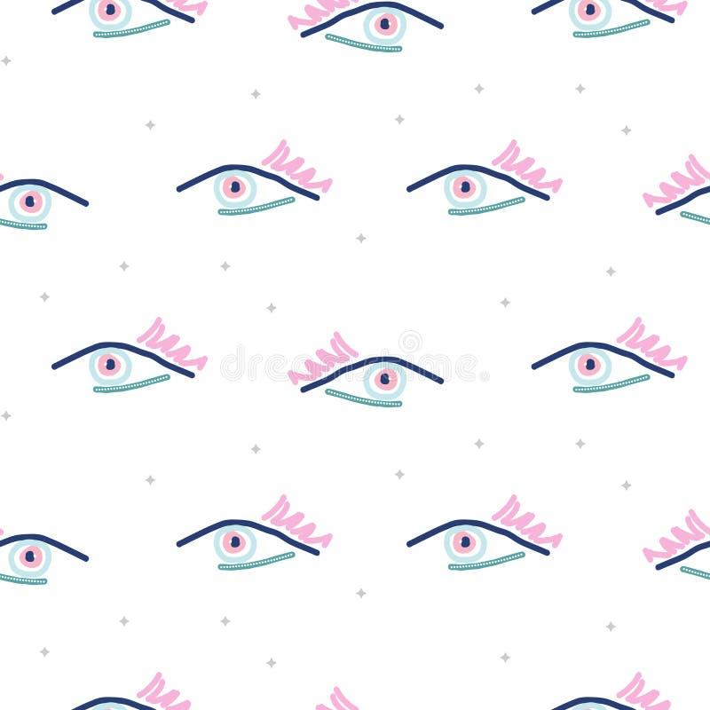 Oczy w modnisiu projektują modnisia wystrzału sztuki bezszwowego wzór Wektorowy młodości tekstury tło dla druku ilustracji