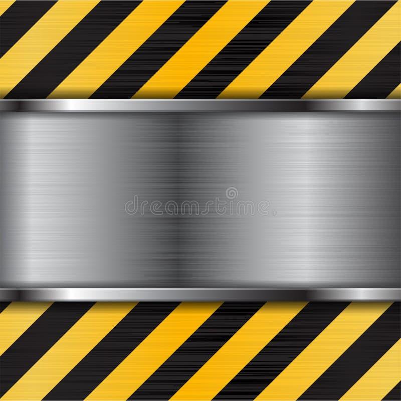Oczyszczona metal tekstura z czarnymi żółtymi lampasami budowa tło ilustracja wektor