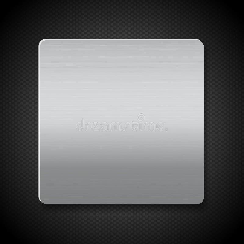 Oczyszczony metalu panel na czarnym tekstury tle ilustracji