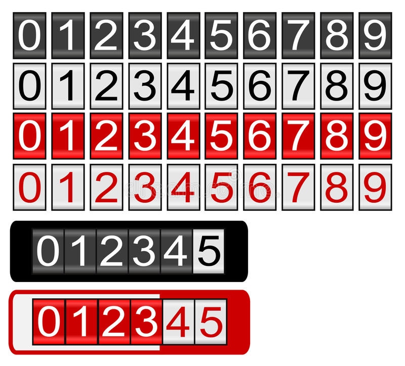 Odómetro preto e vermelho ilustração do vetor