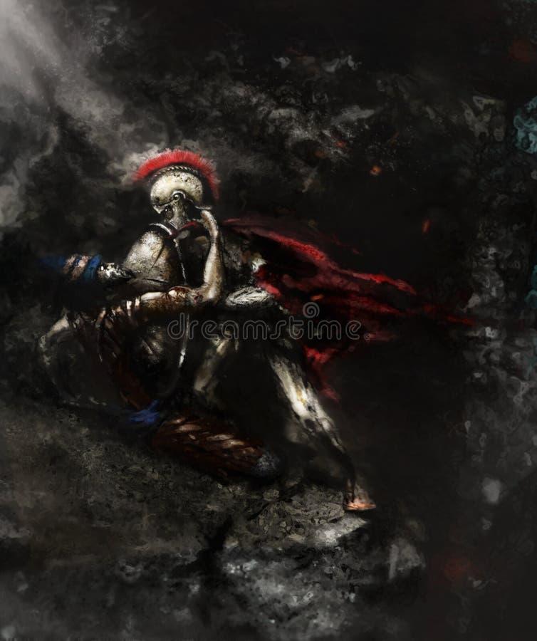 _ Odödlig perser mot det spartanskt royaltyfri illustrationer