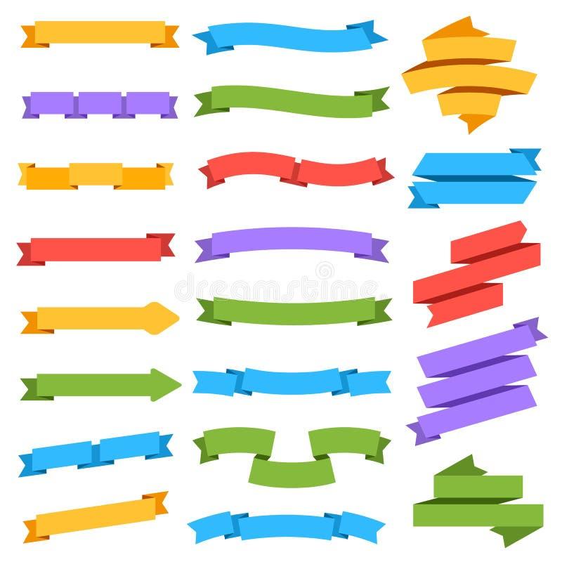 odłogowanie wstążki Pusty kolorowy etykietki metki sztandaru bookmark rocznik odizolowywał wektorową kolekcję royalty ilustracja