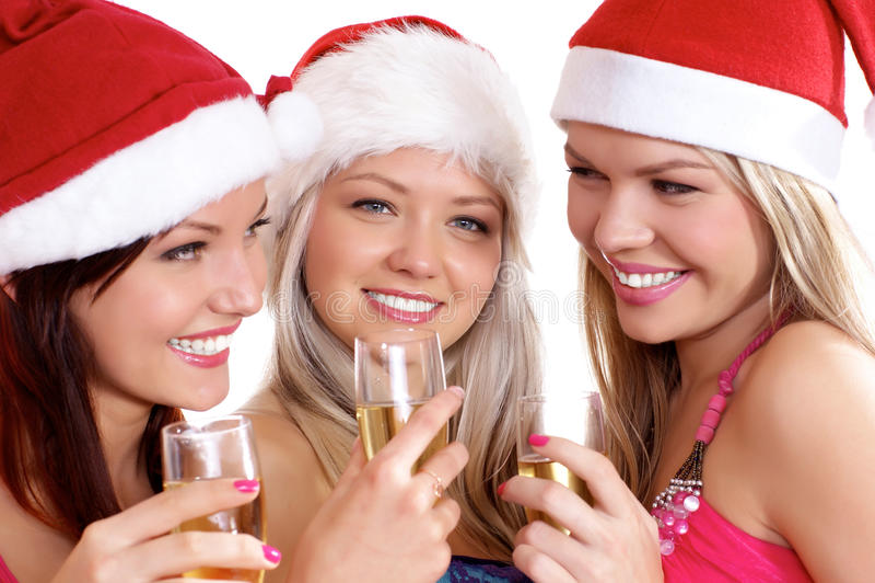 odświętność boże narodzenia młodej trzy kobiety obraz royalty free