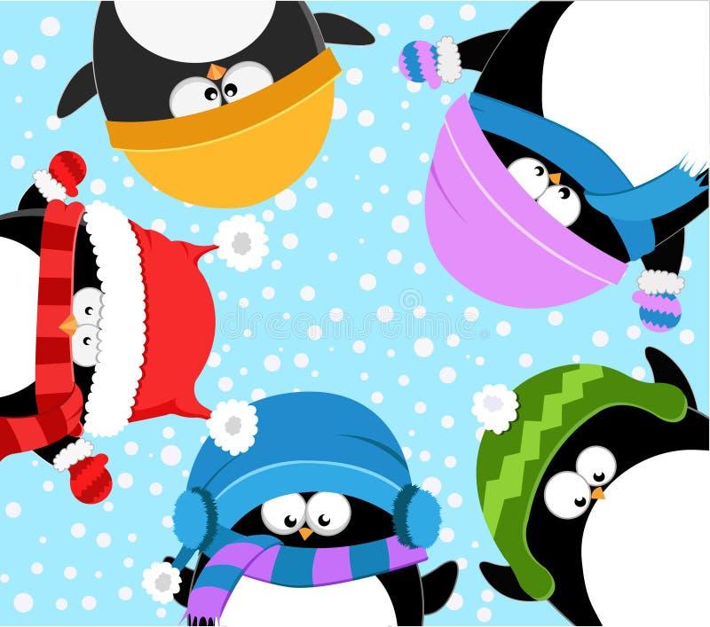 odświętności pingwinów zima royalty ilustracja