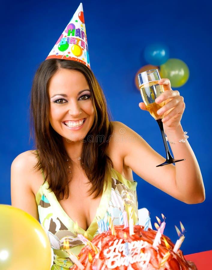 odświętności urodzinowa kobieta obrazy stock