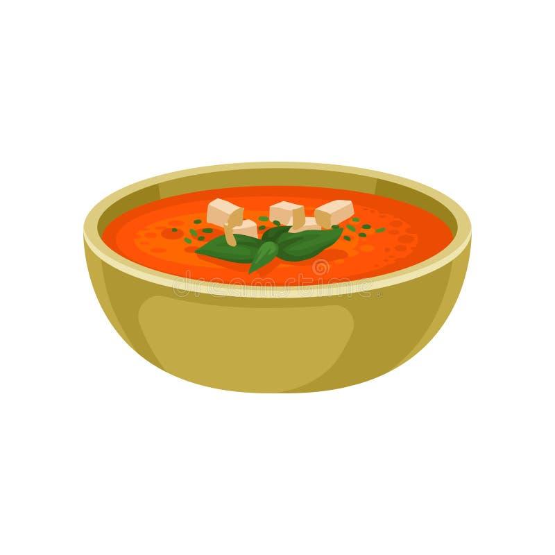 Odświeżająca gazpacho polewka w ceramicznym pucharze Wyśmienicie naczynie Hiszpańska kuchnia Płaski wektorowy element dla menu ilustracji