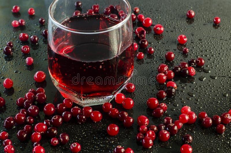 Odświeżający cranberry sok, cranberries i obrazy royalty free