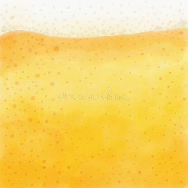 Odświeżający i piankowaty piwo w górę tła ilustracji