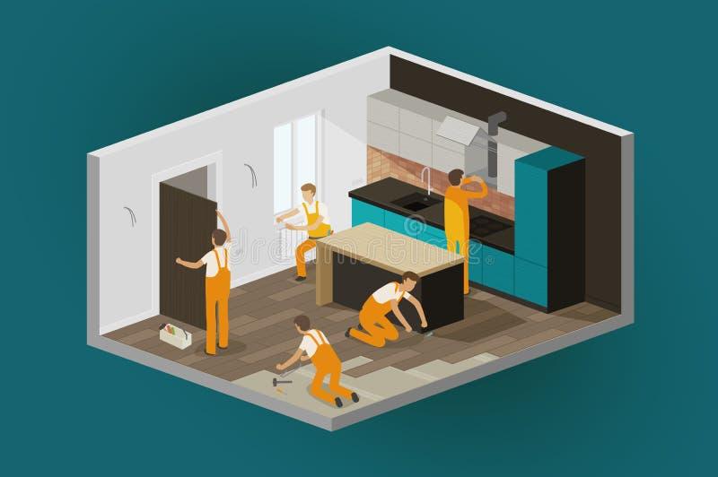 Odświeżania wnętrze, dom naprawa Budowa, isometric wektorowa ilustracja ilustracja wektor
