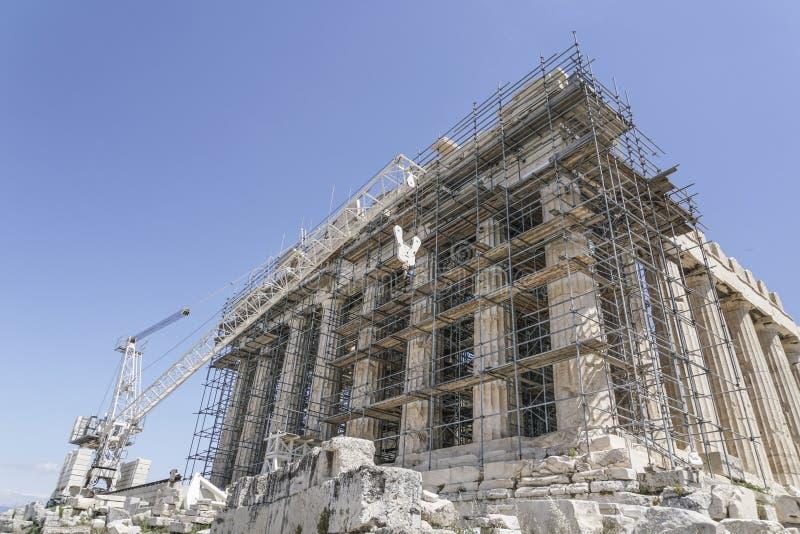 Odświeżanie Parthenon świątynia na Ateńskim akropolu w Ateny, Grecja zdjęcie stock