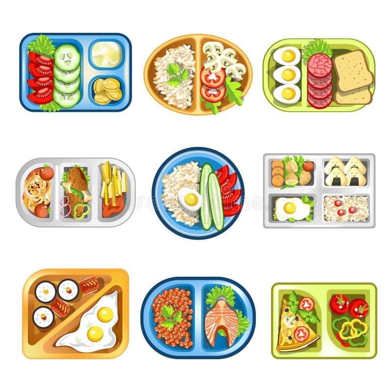 Odżywczy kompleks je lunch w dogodnych plastikowych tacach ustawiać ilustracja wektor